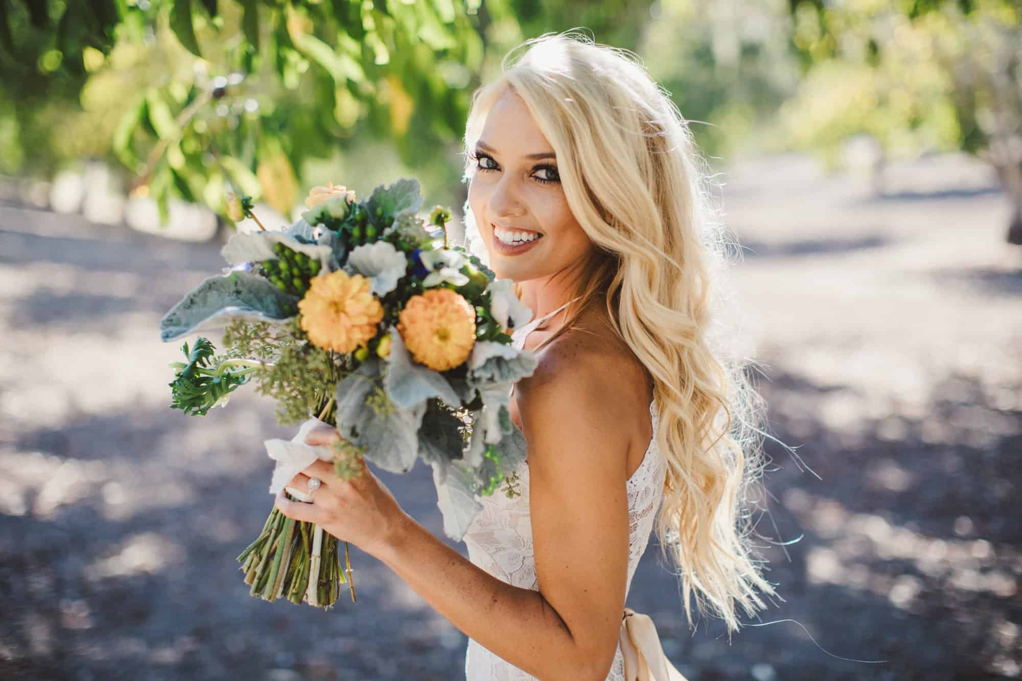 opolo vineyards bride floral arrangement wedding