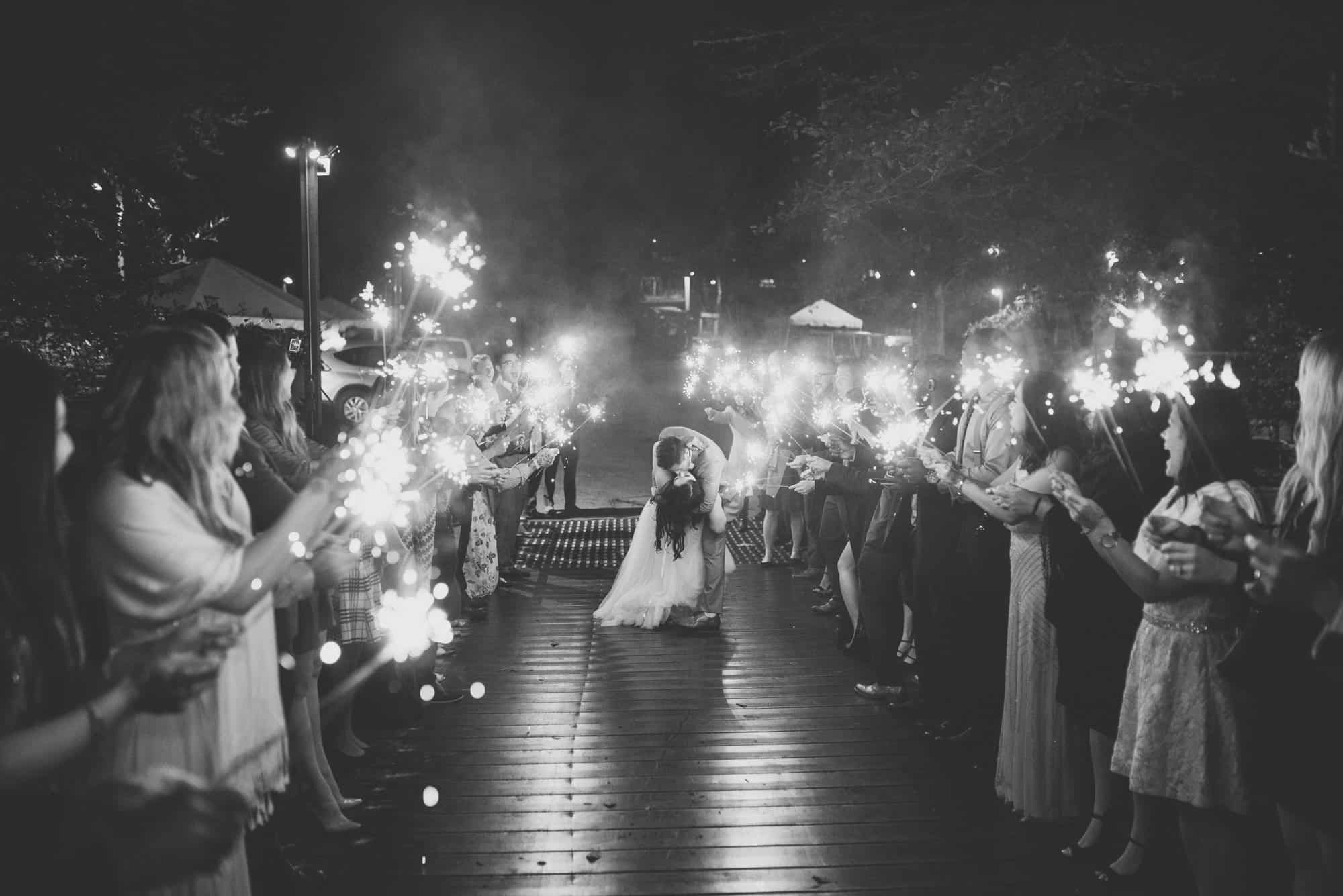 saratoga springs wedding sparkler exit