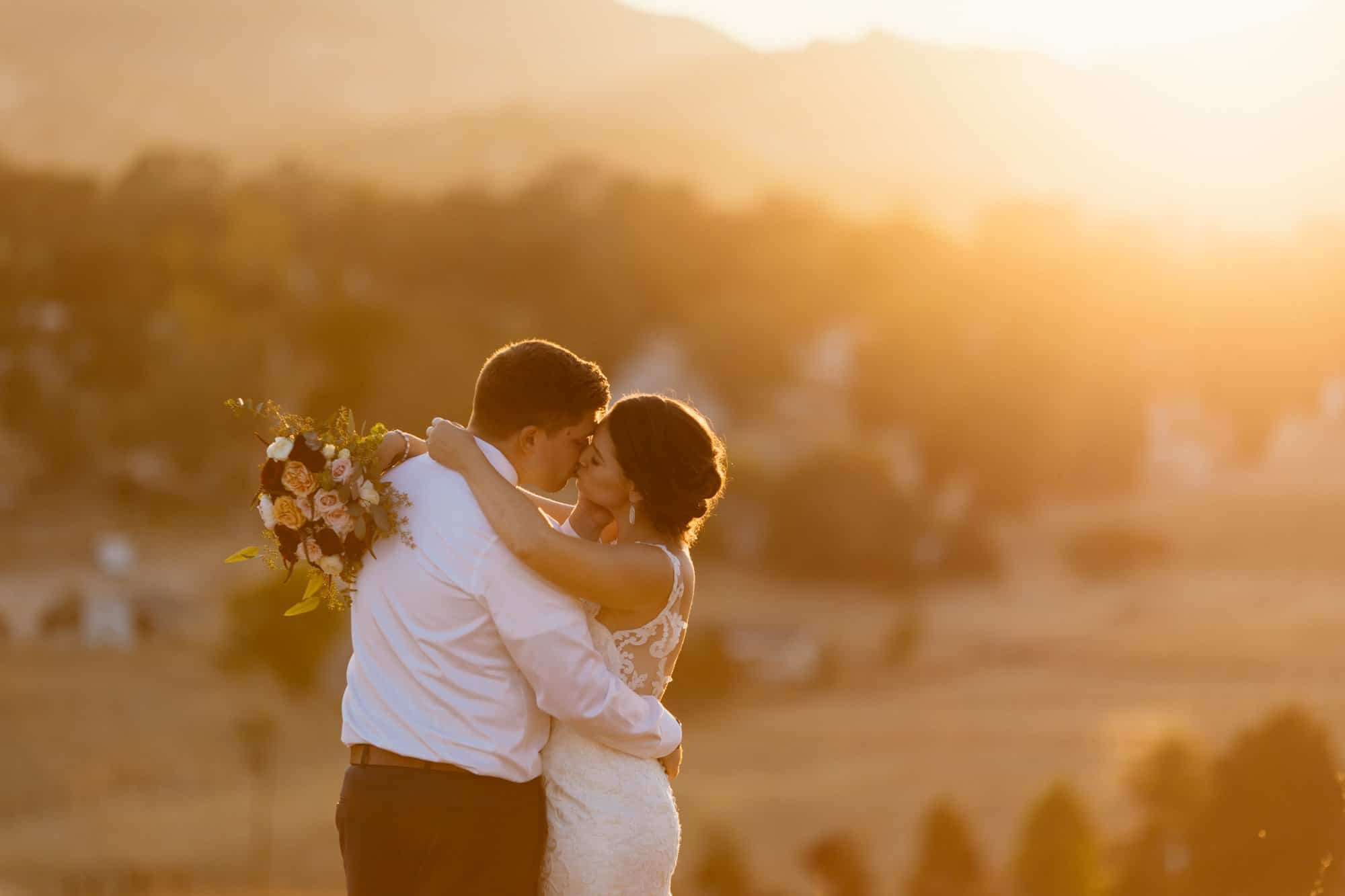 sunset wedding photos at the grace maralyn estate
