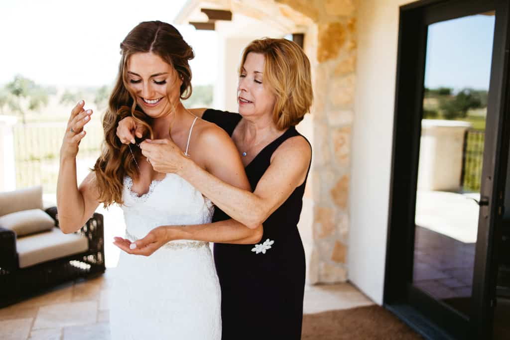 bride and mom on wedding day