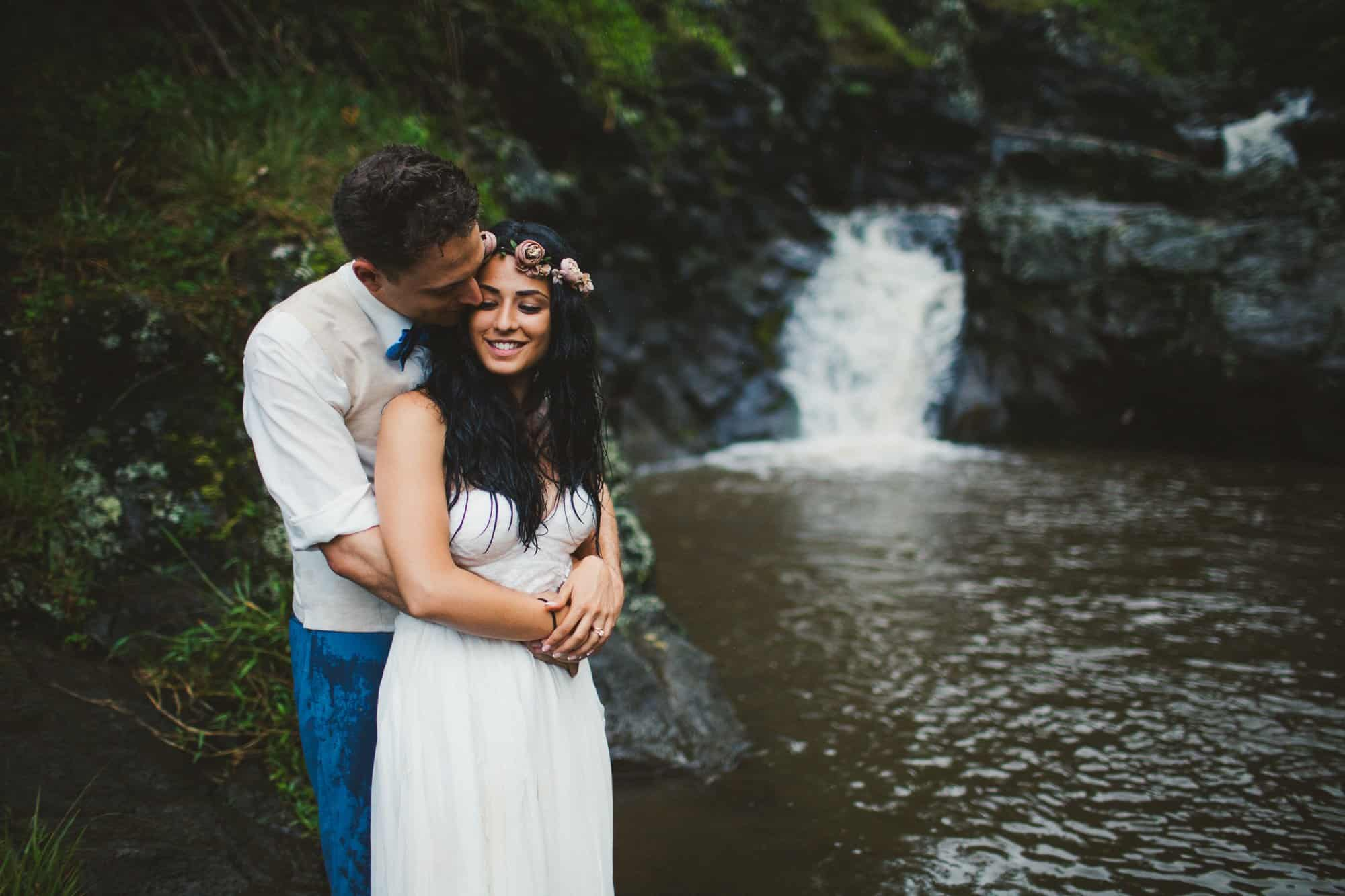 maui waterfall wedding photo