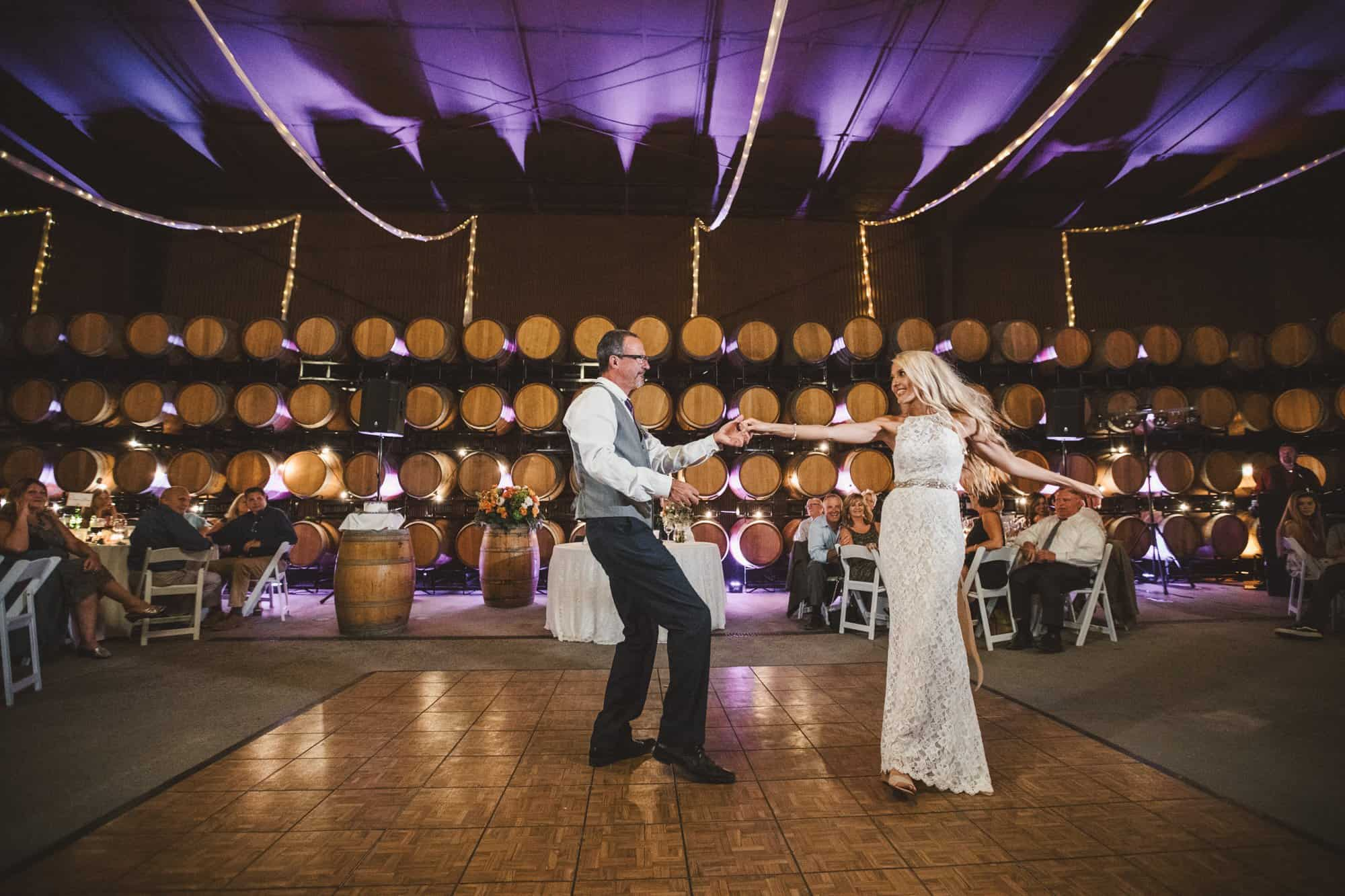 opolo vineyards barrel room father daughter dance canon 5d4 natural light