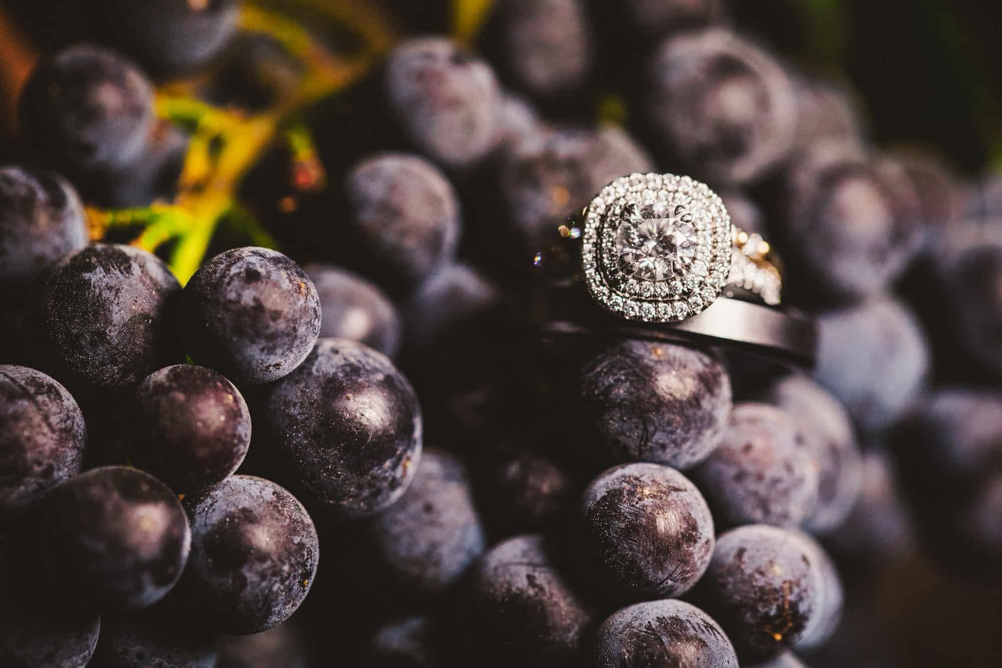 wedding vineyard ring shot macro