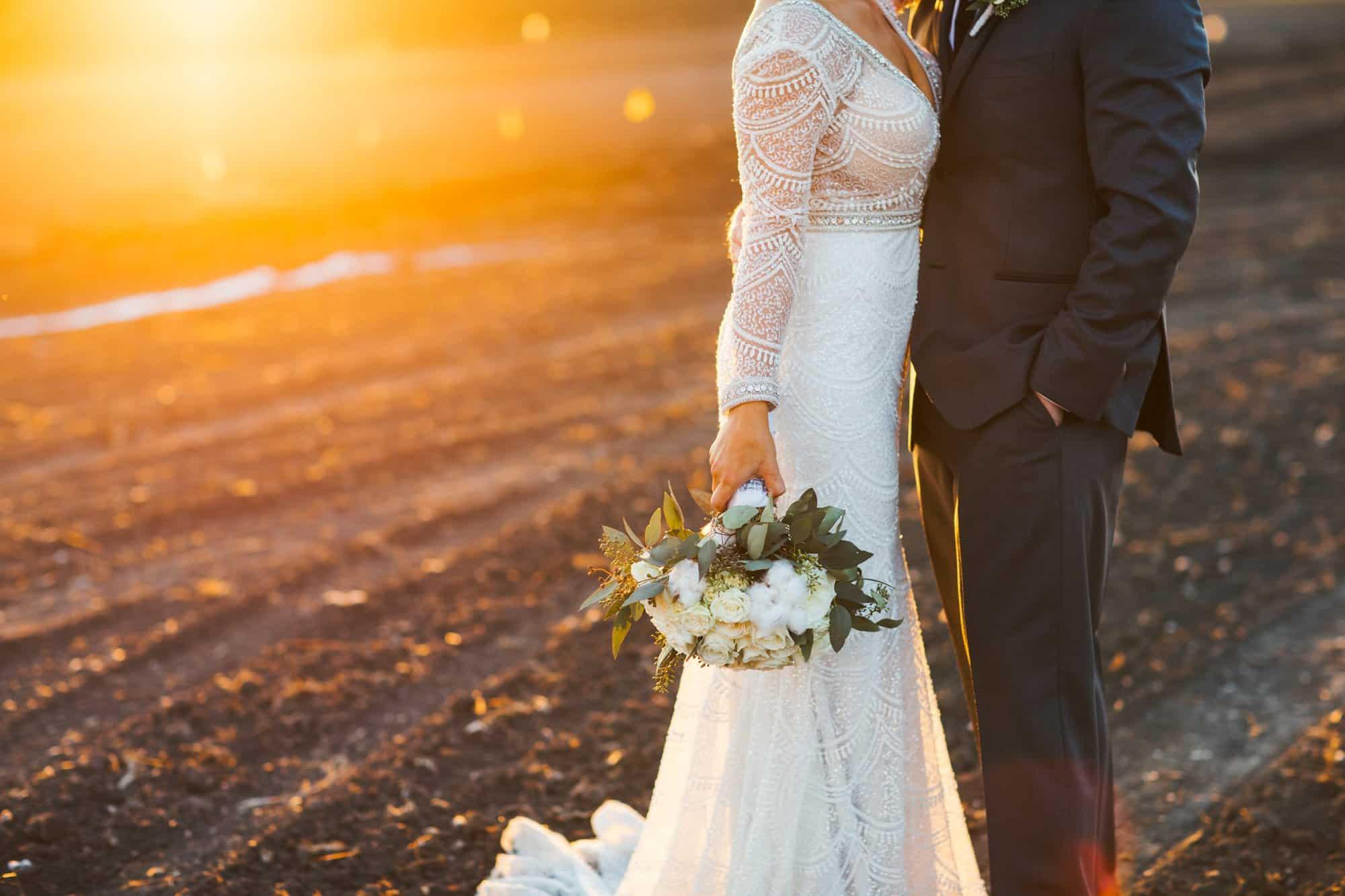 Wedding photos at sunset on a farm