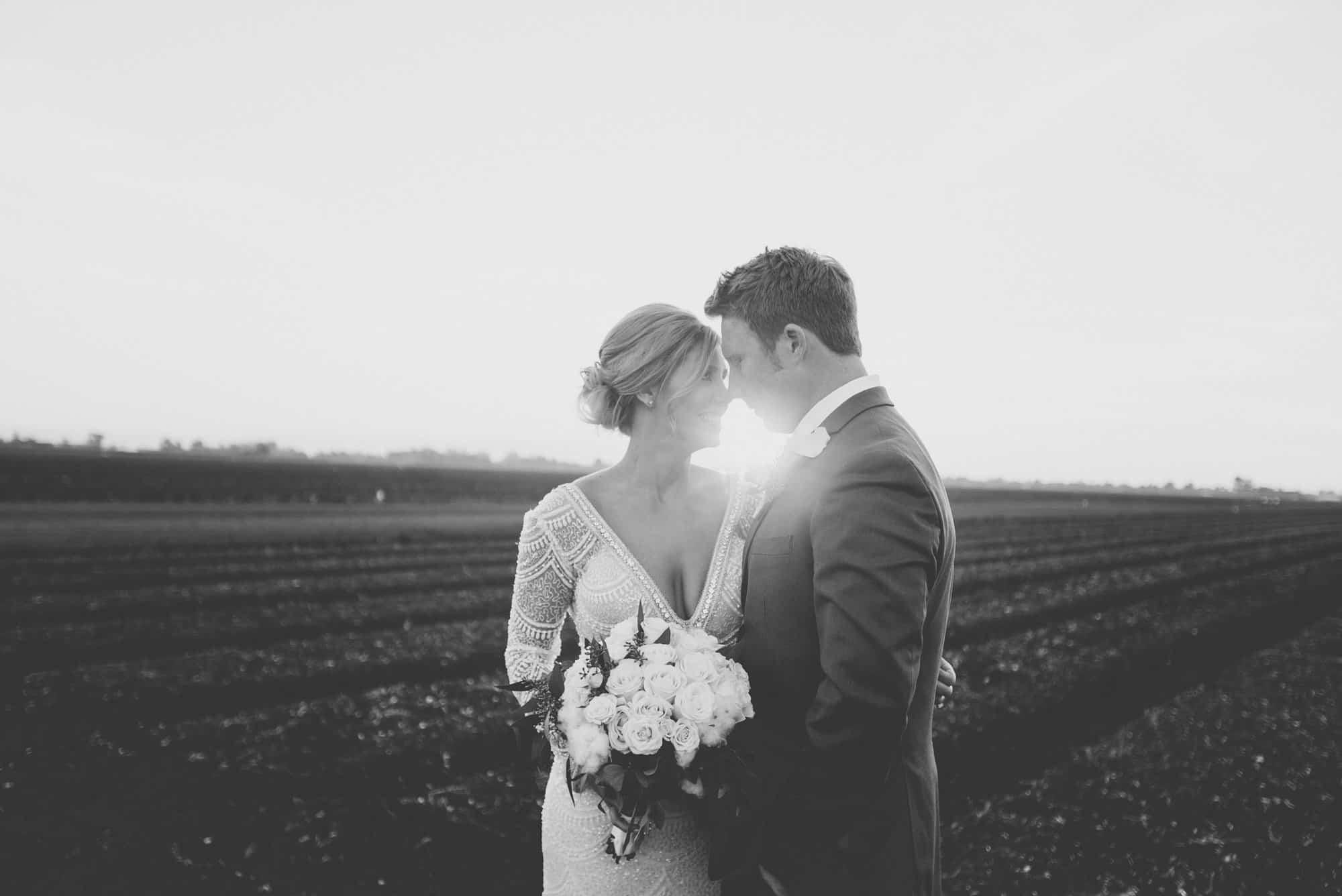 Barn wedding at sunset portraits