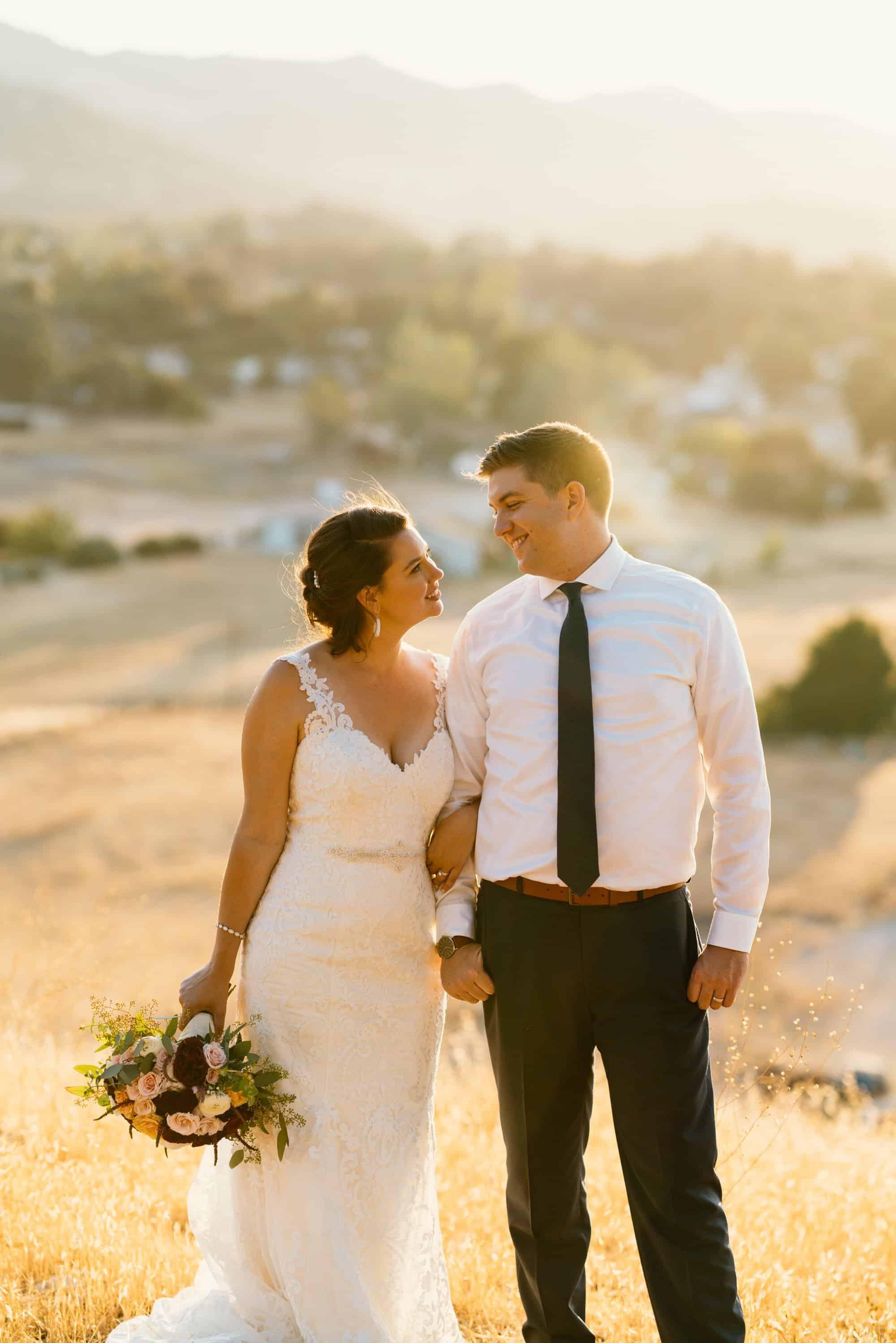 sunset wedding portraits in atascadero